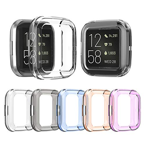 EEweca 5-Pack Protector Case Compatible with Fitbit Versa 2 TPU Soft Bumper Shell, Half Cover