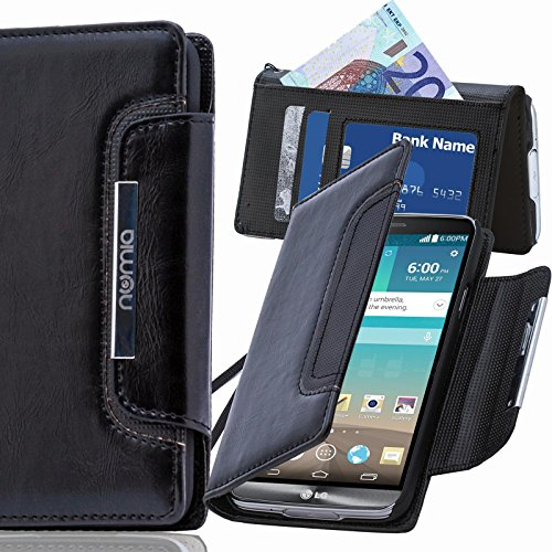numia LG Spirit Hülle, Handyhülle Handy Schutzhülle [Book-Style Handytasche mit Standfunktion und Kartenfach] Pu Leder Tasche für LG Spirit Case Cover [Schwarz]