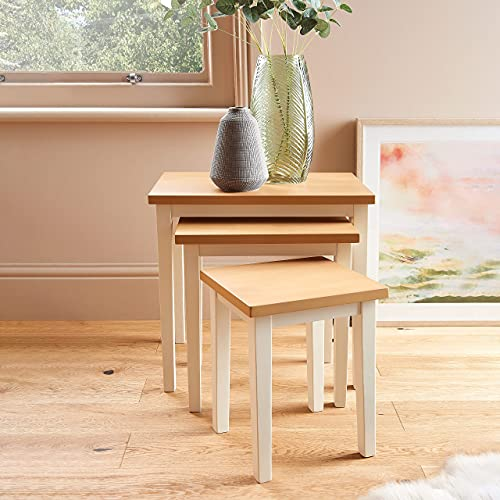 Home Treats Nest of Tables   3 Wooden Side Tables in White and Pine   Living Room Side Tables   Wooden Coffee Tables   Small Pine Wood Tables   Living Room Furniture   White Side Tables