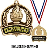 Recognition Medals, 2' Outstanding Achievement Medal Awards with Custom Engraving 50 Pack