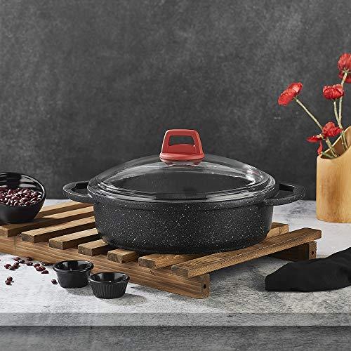 Cazuelas de granito especialmente diseñadas, adecuadas para cualquier horno y lavables, 24-26-28 cm (28 cm)