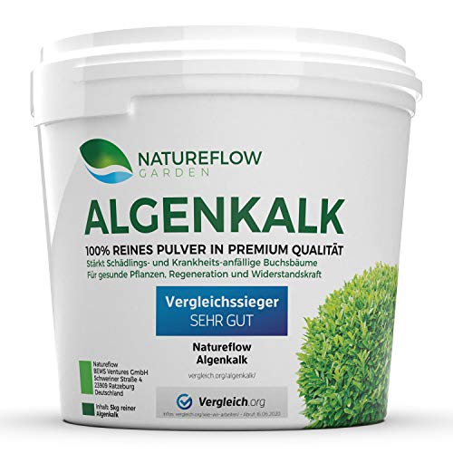 Natureflow TESTSIEGER Algenkalk Pulver für Buchsbaum – Widerstandskraft und Regeneration für anfällige Buchsbäume (z.B. Buchsbaumzünsler) - Premium-Qualität aus Island Garden (5 kg)