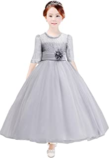 Áo quần dành cho bé gái – Girl Dress Kids Long Party Wedding Princess Dress Tulle Lace