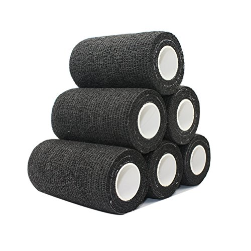 Comomed garza elastica bendaggio adesivo rotolo di nastro flessibile in tessuto non tessuto bendaggio coesivo Athletic Alleray testato nero donna, 6 rolls, 10 cm