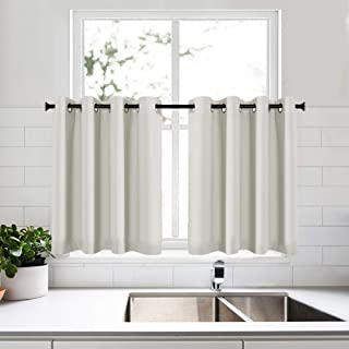 KEQIAOSUOCAI 2 Panels Beige 36 Inch Curtains Tiers for Kitchen Bathroom Basement Blackout Small Short Curtains Valance 52x36