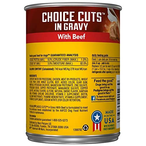 PEDIGREE CHOICE CUTS IN GRAVY Adult Canned Wet Dog Food, 13.2 oz. (Pack of 12) 4