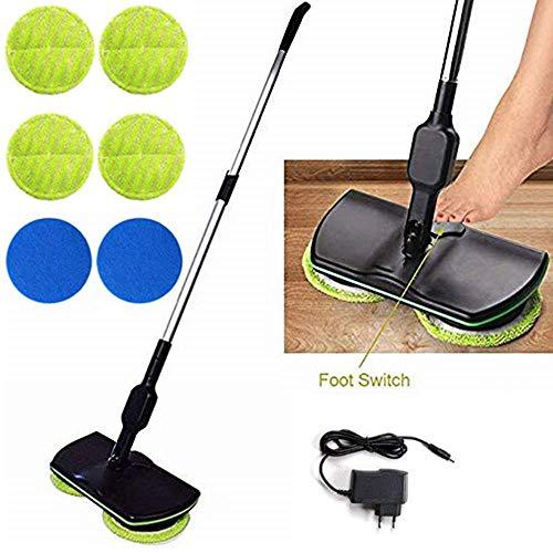 Mop wireless elettronico, pulitore per pavimenti centrifugo 3 in 1 per tutte le superfici - Mop-lucidatrice e lavapavimenti ricaricabile per uso interno con 4 pad in microfibra e 2 pad di lucidatura
