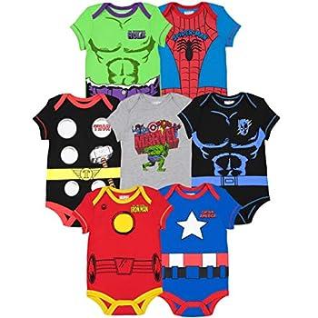 Marvel Avengers Black Panther Captain America Iron Man Hulk Thor Spiderman Baby Boys 7 Pack Bodysuit 18 Months
