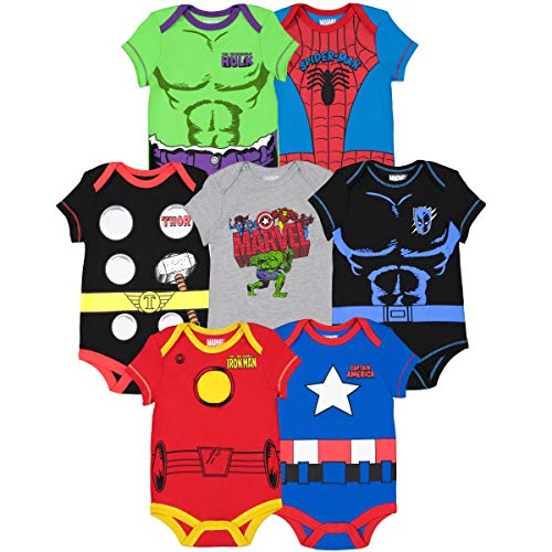 Marvel Avengers Black Panther Hulk Iron Man Captain America Thor Baby Boys 7 Pack Bodysuit 6-9 Months