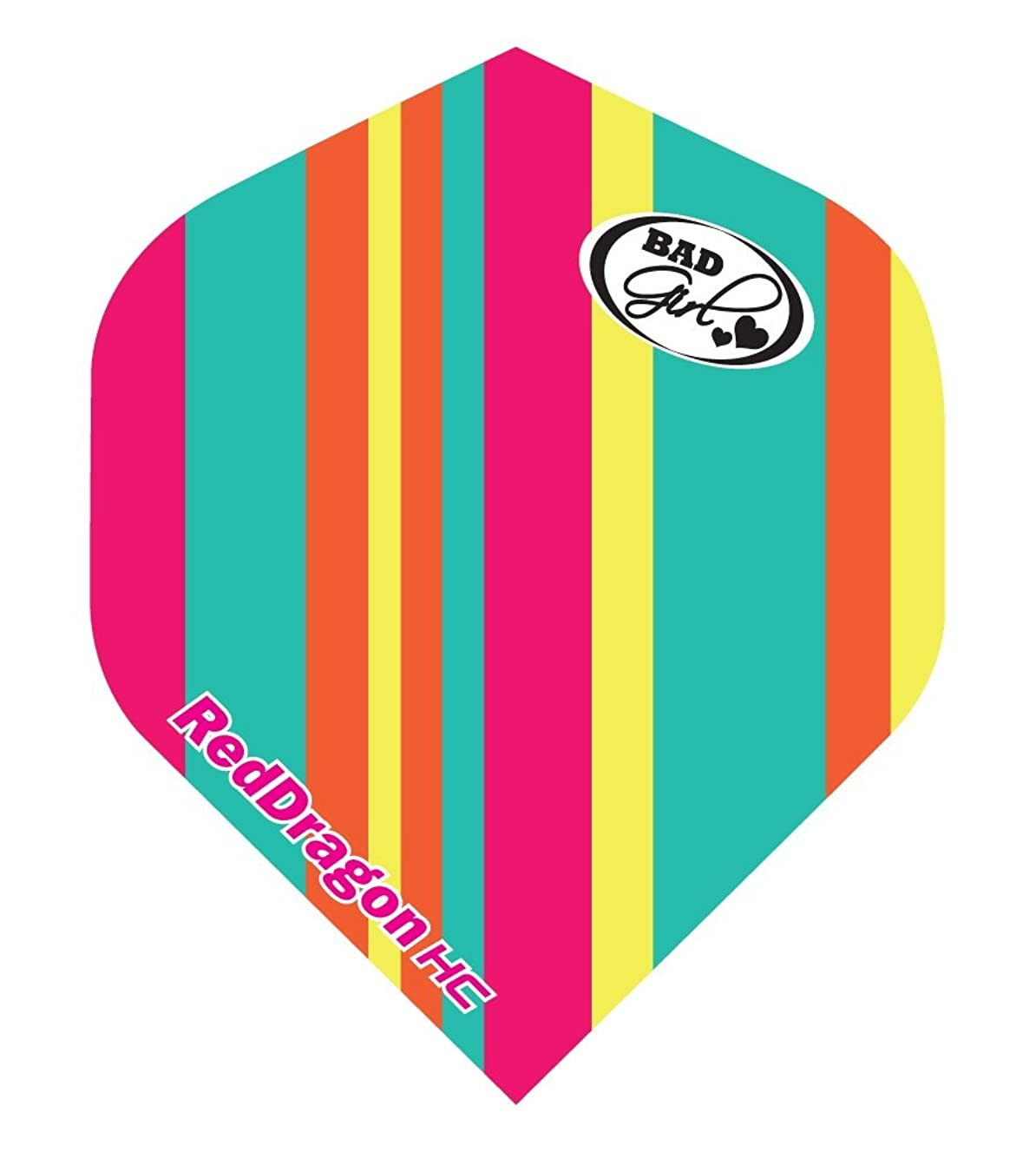 Hardcore Bad Girls Fruity Stripes Extra Thick Standard Dart Flights - 5 sets Per Pack (15 Dart Flights in total) & Red Dragon Checkout Card