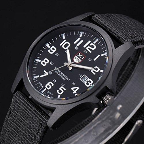 FENKOO Herren/Damen/Kinder Sportuhr/Militäruhr/Kleideruhr/Armbanduhr Quartz Nachts Leuchtend Stoff Band Vintage/BequemSchwarz/Blau (schwarz)