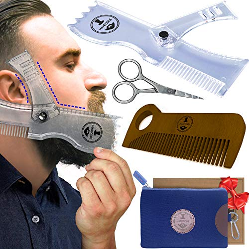 Manecode Beard Shaping Kit - Grooming Tools for Men - Adjustable Lineup Template, Premium Wooden Comb, Laser Sharpening Scissors, All in Hygiene Travel Case