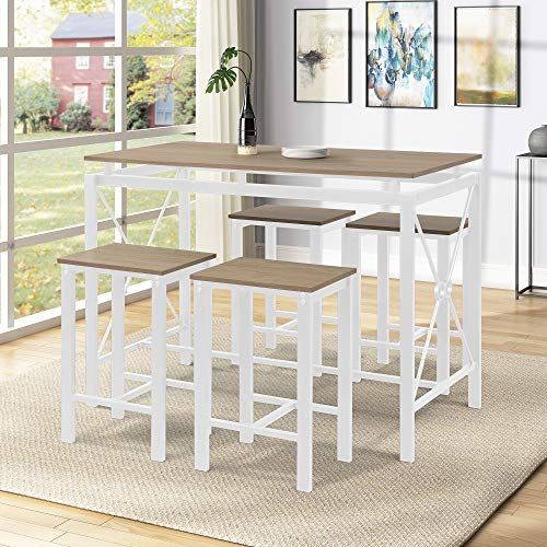 5 Piece Dining Table Set, Rockjame Breakfast Nook Table Set Metal Legs Stools, Perfect for Kitchen, Living Room, Restaurant (White)