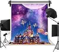 新しい6X9FTおとぎ話の城の写真撮影の背景夜景花火ファンタジー星空の背景プリンセスガール誕生日セルフポートレートLHST308