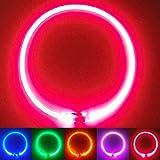 PetSol LED Collar Perro Collar de Seguridad LED Recargable Ultra Luminoso para su Mascota batería de Litio Recargable Mayor Visibilidad y Seguridad Talla única para Todos los Perros y Gatos (Rojo)
