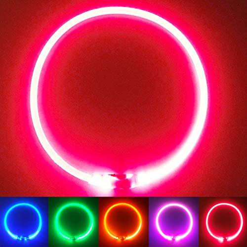 PetSol Ultra Collare Luminoso per Cani. Ricaricabile USB LED Collare Luminoso di Sicurezza per Animale Domestico con 3 modalità d'ardore e Misura Regolabile Adatto per Tutti i Cani Gatti (Rosso)