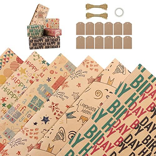 Bigqin 8 Fogli di Carte da Regalo di Compleanno 70 * 50cm,12 etichette Carta Kraft Riciclabile Premium,2 fasci di corda da 10m e nastro biadesivo,Carta da Regalo Multicolore, per Confezioni Regalo