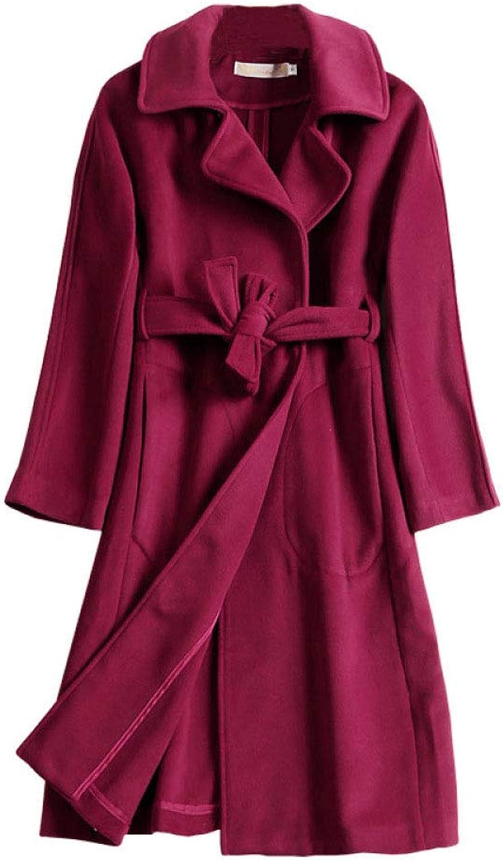 DFUCF Women's Woolen Coat Fashion Lapel Thickened Coat with Belt Slim Coat