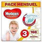 Huggies, Couches bébé Taille 3 (4-9 kg), 168 couches, Unisexe, Avec indicateur d'humidité, Pack 1 mois de consommation, Ultra Comfort