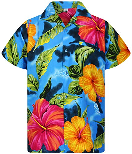 V.H.O. Funky Camisa Hawaiana, BigFlower, Lightblue, M