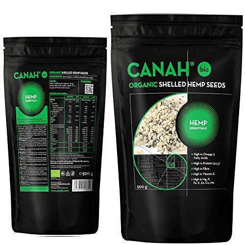 BIO Geschilde hennepzaden gemaakt door Canah, 500g - rijk aan eiwitten, vezels, Omega 3, aminozuren en mineralen - een gezonde veganistische snack met Omega 6-bron