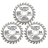 3-3/8-inch 24T Circular Saw Blade, Carbide Tipped Fast Cut TCT...