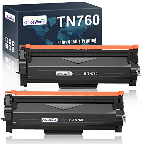 OfficeWorld Compatible Toner Cartridge Replacement for Brother TN760 TN-760 TN730 for MFC-L2710DW HL-L2395DW HL-L2370DW HL-L2350DW DCP-L2550DW MFC-L2750DW HL-L2390DW (Black, High Yield, 2-Pack)