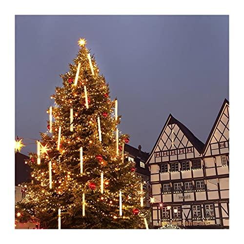 ANIMACHKAS LED Meteor Shower Rain Lights 30cm 8 Tubes 144 LED Falling Rain Drop Christmas Light Cascading Icicle String Lights for Party Wedding Christmas Tree Decoration (Color : Warm White)