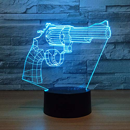 KangYD 3D Night Light Cowboy Revolver Gun Shape, LED Illusion Lamp, A - Touch Black Base(7 Color), Gift for Friend, Colorful Change, USB Powered, Home Decor, Acrylic
