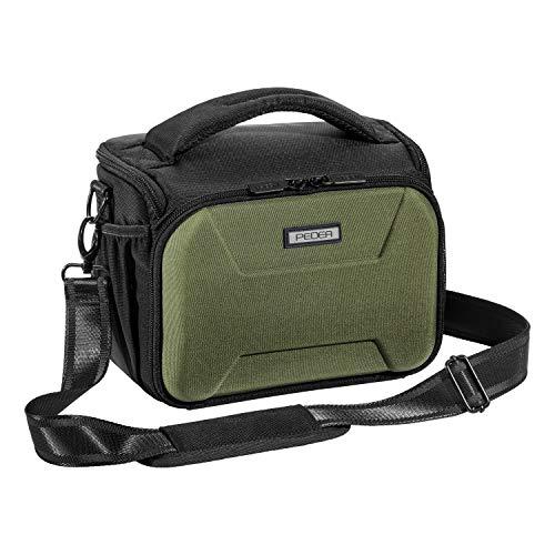 PEDEA DSLR borsa per fotocamera 'Guard' Borsa per fotocamera per macchine fotografiche reflex con protezione antipioggia impermeabile, tracolla e scomparti per accessori, misura XL verde