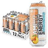 Optimum Nutrition Amino Energy + Electrolytes Fitness & Energy Drink - Sugar Free, Sparkling Hydration - Peach Bellini, 12 Count