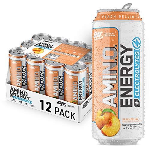 Optimum Nutrition Amino Energy + Electrolytes Sparkling Hydration Drink - Pre Workout, BCAA, Keto Friendly, Energy Powder - Peach Bellini, 12 Count