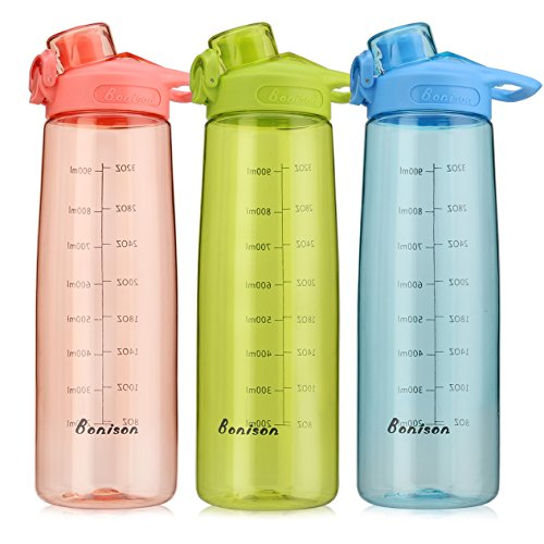 Bonison Wide Mouth Sports Water Bottle Flip Top Lid with Handle, Leak Proof, Bpa Free, Various Capacity. Perfect for Travel Yoga Running Outdoor Cycling Hiking Or Camping (Pink)