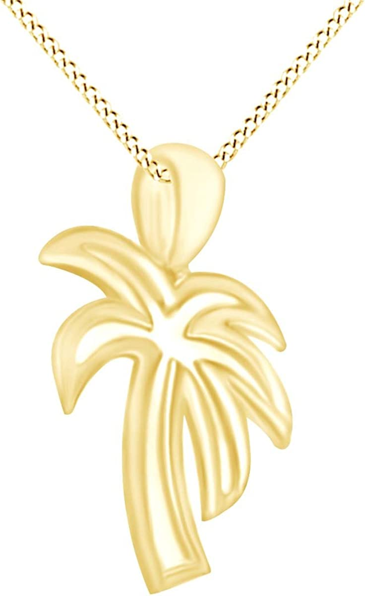 AFFY Palm Tree Pendant Necklace in 14k Gold Over Sterling Silver