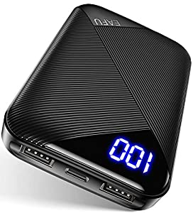EAFU Power bank, Mini Size 10000mAh LED Display Portable Charger, Dual 3A USB C Input External Battery Phone Pack with Flashlight, Compatible with iPhone Xs 8 iPad Samsung S10 Plus Note 10 Airpods etc