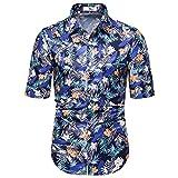 Camisas de Ajuste Delgada de los Hombres, Camisa Adulta de la Moda de la Moda de la Camiseta de la Manga Corta, la colocación de la Moda,Azul,M