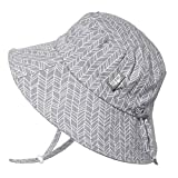 JAN & JUL Newborn Infant Baby Girl Boy Cotton Bucket Sun Hat 50 UPF Protection, Adjustable Good Fit, Stay-on Tie (0-6 Months, Grey Herringbone)