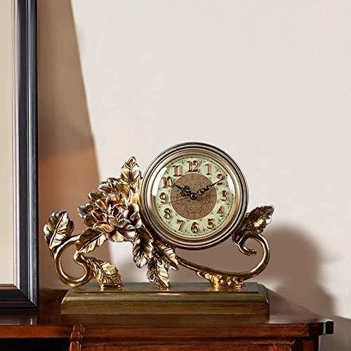 YIONGA CAIJINJIN Mantle Reloj Resina Reloj/Despertador/Reloj de Mesa Sala de Creative Living TV Gabinete de los Ornamentos/de Escritorio Reloj de péndulo de 30 * 26 * 10 cm Delicado Hermosa