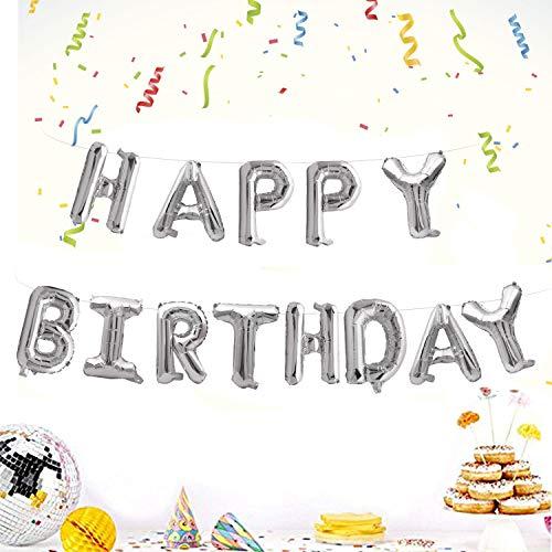 Camelize Happy Birthday Ballons Banner,selbstaufblasendes Luftballons ,Buchstaben Folien Banner,Geburtstag Luftballons,Buchstaben Folien Banner,Folienluftballons Dekoration für Partydekoration,Silber