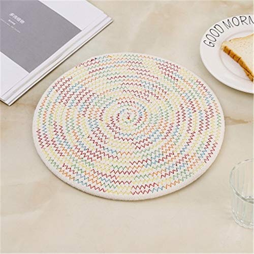 GUOCAO Coaster Table Mat Isolierung Schüssel Pad weicher handgefertigte ovale runder Entwurf Baumwolle Antiverbrühschutz Platzdeckchen Beleg Küchenzubehör Matte (Color : 3, Size : Round)