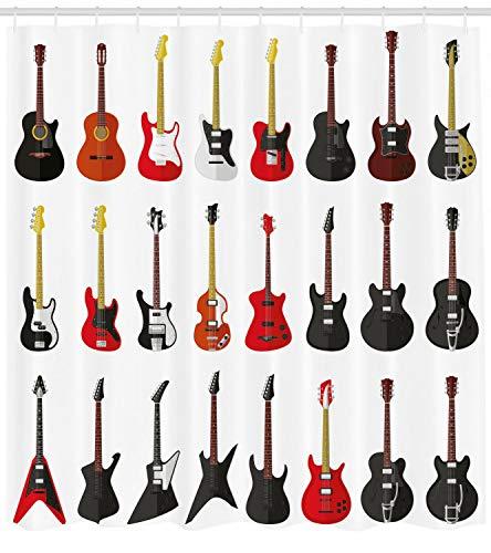 Dor675ser Duschvorhang, 182,9 x 182,9 cm, Gitarren-Duschvorhang, Instrumente, Akustikdruck für Badezimmer