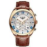 MHCYKJ Mens Relojes multifunción Deporte del cronógrafo del Reloj de los Hombres de Moda Relojes de Cuarzo Resistente al Agua,Azul