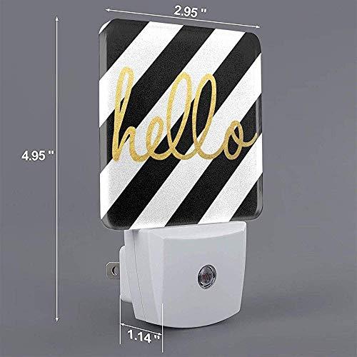 Lampe enfichable à imprimé Hello Striped avec crépuscule à l'aube, veilleuse automatique marche/arrêt