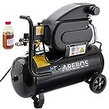 Arebos Compresseur d'air 24 litres / 1500 W / 97 dB / 75 L/min / 8 bars/silencieux/coupleur euro/certifié TÜV Süd/sans huile