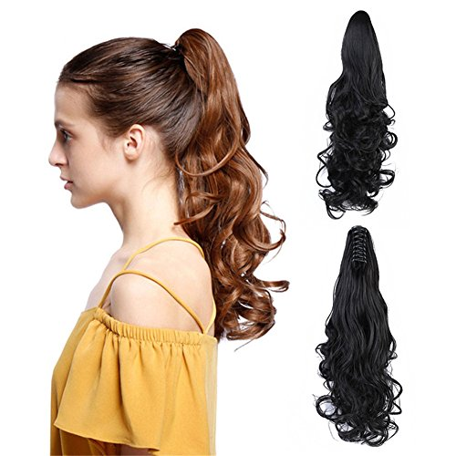 "Claw Clip Ponytail Hair Extension - Remeehi Body Wave Remy Human Hair Jaw Ponytails Hairpiece For Black Women (15"" 85g 2#)"