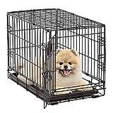 DHYBDZ Jaula para Perros y Gatos con Bandeja extraíble, Jaula de Alambre de Metal Plegable con Patas de Rodillo, Jaula para Perros, Valla, Perrera para Cachorros