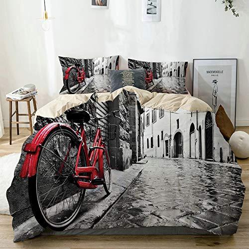 QINCO Bicicleta clásica en la Calle de adoquines en la Ciudad Italiana Foto artística de Ocio Beige Microfibra Funda de Nórdico y Fundas de Almohada (Cama 220 x 240cm + Almohada 63X63cm)