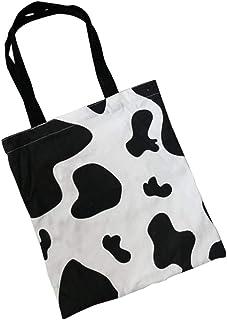 VALICLUD VALICLUD Frauen Schulter Tragetaschen Kuh Muster Einkaufstasche Einkaufstüten Reißverschluss Umhängetasche Handtasche für Mädchen Studenten Mittagessen Schwarz Weiß