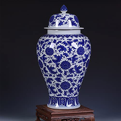 Traditionella dekorativa vaser dekorativa tempel ingefära burk vas kinamingstil bord för heminredning vardagsrum kontor – liten trasslig allmän burk och roterande bas H47 x b 24 cm