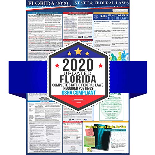 "2020 Florida State and Federal Labor Laws Poster - OSHA Workplace Compliant 24"" x 36"" - All in One Required Posting - Laminated"